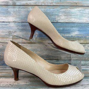 Cole Haan Ivory Snake Print Leather Peep Toe Pumps